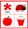 Learning red color Educational cards for kids vector image