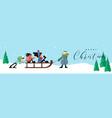 merry christmas banner funny children winter sled vector image