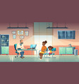 pediatrician and woman with girl in medical office vector image vector image
