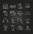personal protective equipment thin line icons on vector image vector image