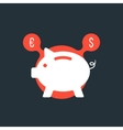 piggy bank with currency sign in red bubble vector image vector image