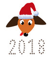 portrait of cute dachshund dressed in red santas vector image