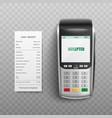pos terminal confirming transaction debit or vector image