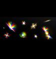 rainbow light flare effects iridescent glare vector image