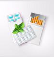 realistic chewing gum and cigarettes vector image vector image