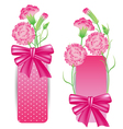 Ribbon with pink Carnation for mothers day card vector image vector image