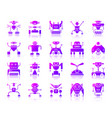 robot simple purple gradient icons set vector image