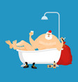 santa claus relaxes in bath new year and christmas vector image vector image