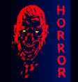 screaming vampire head in red and blue colors vector image