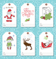 Set of New Year gift tags template Hand drawn vector image vector image