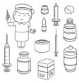 set of nurse and injection medicine vector image
