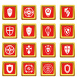 shields set icons set red vector image