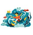 small girl swimming or looking at aquarium fauna vector image