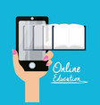 smartphone with knowledge to leard and study vector image vector image