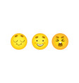 smiley emoticon balls set with dreaming happy and vector image