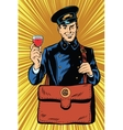 Smiling retro postman with a greeting glass of vector image vector image