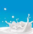 splash of milk - with blue background vector image vector image