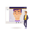 video call chat conference concept with young man vector image vector image