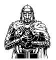vintage monochrome medieval warrior vector image