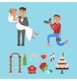 Wedding couple and photographer characters vector image vector image