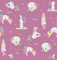 white unicorn yoga poses and exercises cute vector image