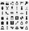 woman present icons set simple style vector image vector image