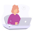 woman with laptop and coffe concept design vector image vector image