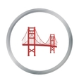 Golden Gate Bridge icon in cartoon style isolated vector image
