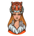 a woman with a tiger mask beautiful girl in a hat vector image vector image