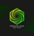 abstract green hexagon logo modern gradient vector image