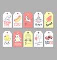 amusement park tags and labels set freehand style vector image
