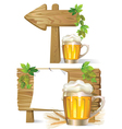 Beer wooden board sign vector image vector image