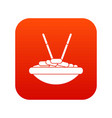 bowl of rice with chopsticks icon digital red vector image vector image
