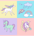 bright happy birthday card with unicorns clouds vector image vector image