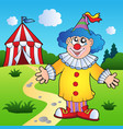 cartoon clown with circus tent vector image vector image