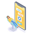 cartoon concept online medicine girl vector image vector image