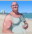 cartoon happy male big guy shows an approving vector image vector image