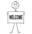 cartoon of man or businessman holding sign with vector image