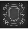 chalk sketch of vintage ribbons and shield vector image