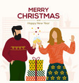 christmas cards design flat 5 vector image
