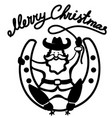 christmas santa in cowboy shoes sit on lucky vector image vector image