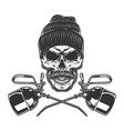 crossed oilers and blue collar worker skull vector image