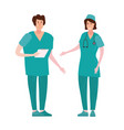 doctor and nurse in professional clothes the vector image vector image