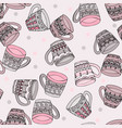 doodle style seamless pattern with tea cups vector image
