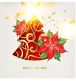 fantasy christmas fir tree with poisettia flower vector image