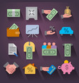 finances icon set vector image vector image