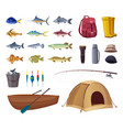 fishing equipment set icons vector image