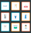 flat icons enamel treatment orthodontist and vector image vector image