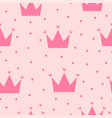 girly seamless pattern with cute crowns and vector image vector image