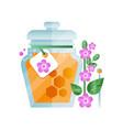 glass jar of honey and lavender flower natural vector image vector image